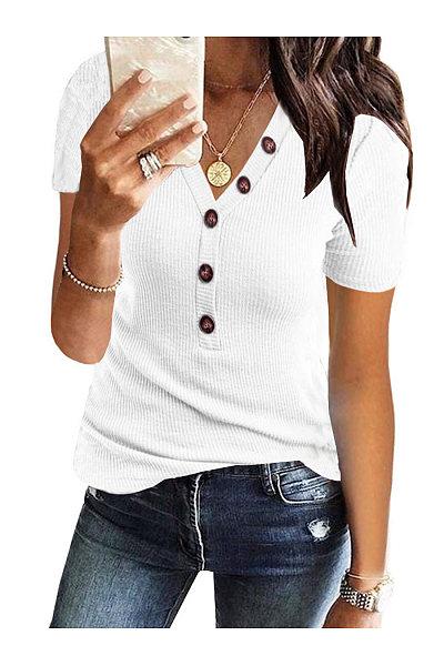 Casual V-Neck Button Short Sleeve T-Shirt