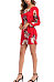 Round Neck  Backless Bow  Floral Printed  Lantern Sleeve Casual Dresses