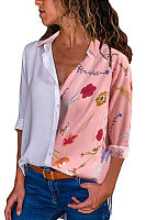 Turn Down Collar  Floral Printed Patchwork  Blouses