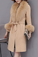 Faux Fur Collar Belt Plain Woolen Wrap Coat