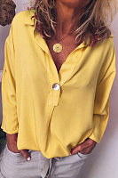 Button Down Collar  Loose Fitting Plain Blouses