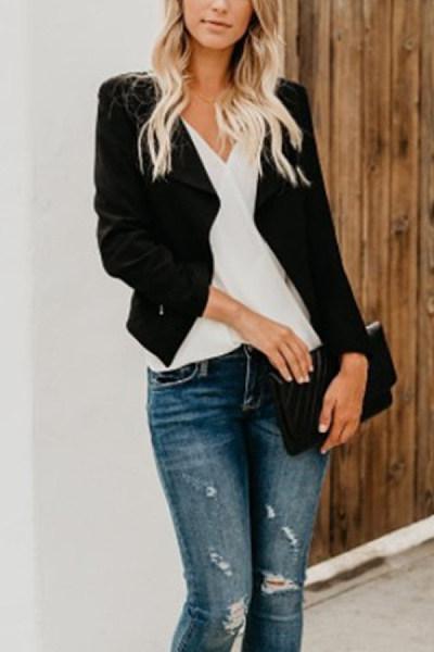 Small  Lapel  Zipper  Plain  Jackets