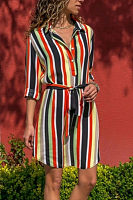 V Neck  Belt  Striped  Half Sleeve Casual Dresses