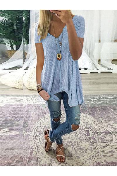 Casual V-Neck Asymmetrical Hem T-Shirt