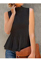 Casual Pleated Sleeveless T-Shirt