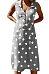 Deep V Neck  Single Breasted  Dot  Sleeveless Maxi Dresses
