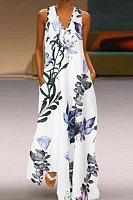 V Neck Decorative Buttons Floral Printed Maxi Dress
