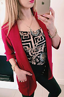 Casual Turndown Collar Pure Colour Long Sleeve Bodycon Blazer
