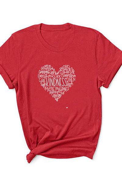 Love Letter Printed Short-Sleeved T-Shirt