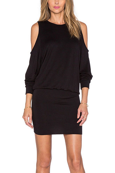 Black Open Shoulder Lantern sleeve Bodycon Dresses
