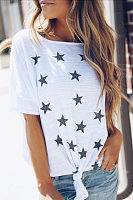 Round Neck  Star  Batwing Sleeve T-Shirts