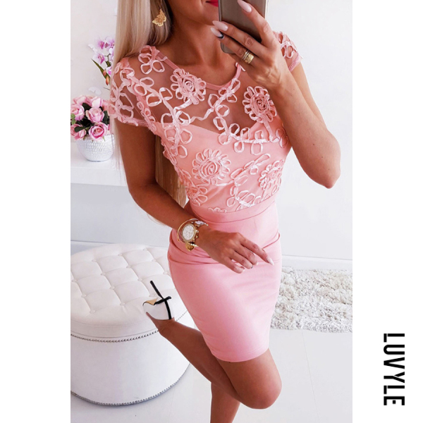 Pink Round Neck See Through Plain Short Sleeve Elegant Bodycon Dresses Pink Round Neck See Through Plain Short Sleeve Elegant Bodycon Dresses