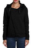 Hooded  Zipper  Plain Sweatshirts