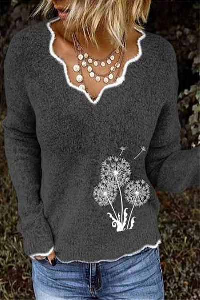 Lady V Neck Printed Casual Sweater