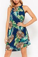 Halter  Asymmetric Hem  Print  Sleeveless Casual Dresses