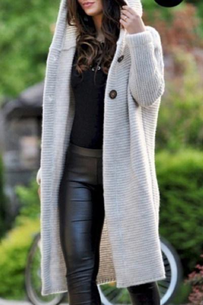 Hooded Single Breasted Plain Long Sleeve Coats