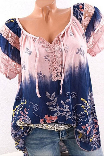 Summer  Polyester  Women  Tie Collar  See-Through  Floral Printed  Short Sleeve Blouses