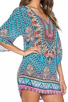 Asymmetric Neck  Print  Three Quarter Sleeve Casual Dresses
