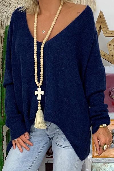 V Neck Curved Hem Loose-Fitting Plain Sweater