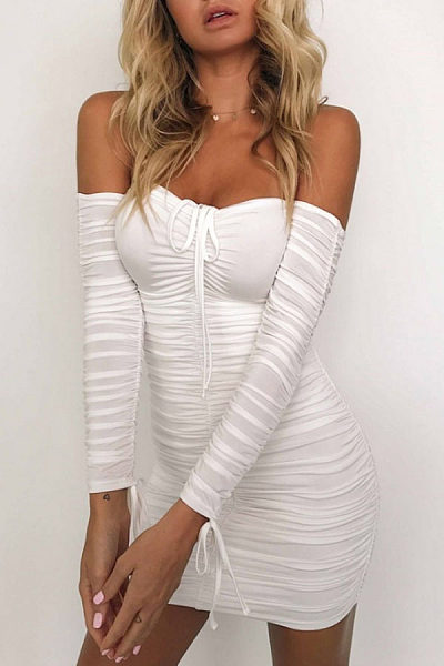 Off Shoulder  Ruched  Plain  Long Sleeve Bodycon Dresses