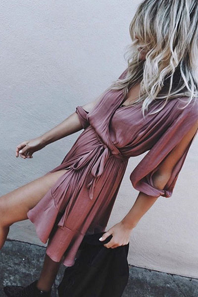 Surplice  Slit  Belt  Plain  Half Sleeve Casual Dresses