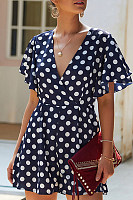 V Neck  Dot  Short Sleeve  Playsuits