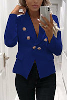 Fold Over Collar Double Dreasted Plain Blazers
