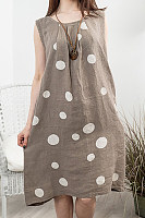 Casual Round Neck Pleated Sleeveless Polka Dot Linen Print Dress