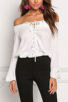 Off Shoulder  Lace Up  Plain  Blouses