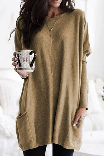 Casual Round Neck Long Sleeve Plain Shirts