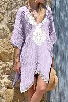 V Neck  Asymmetric Hem  Printed  Half Sleeve Casual Dresses