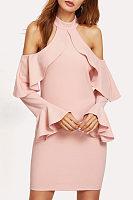 Open Shoulder  Flounce  Plain Bodycon Dresses