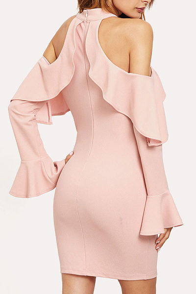 Open Shoulder  Flounce  Plain Bodycon Dresses