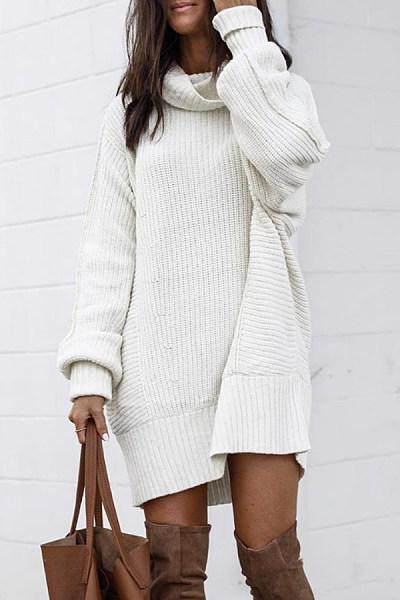 Heap Collar Plain Knit Long Sweater