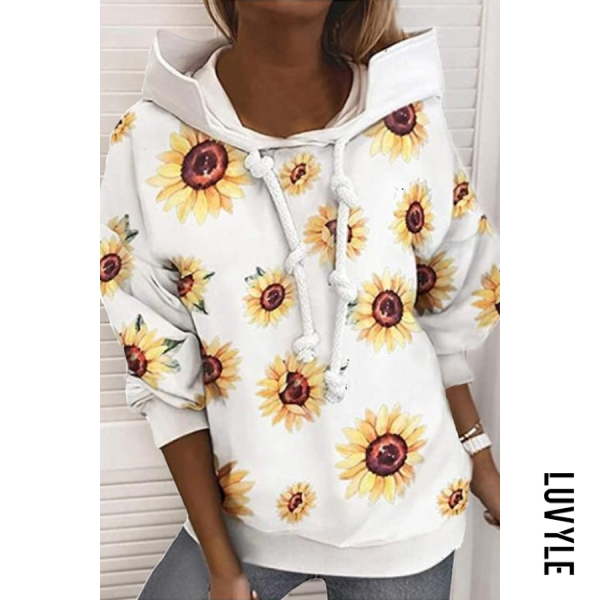 White Printed Long Sleeve Loose Casual Hoody White Printed Long Sleeve Loose Casual Hoody
