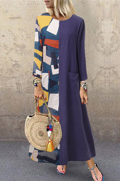Retro-print round-neck contrast-paneled long-sleeved dress