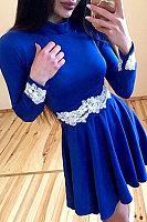 Round Neck  Decorative Lace  Plain  Long Sleeve Skater Dresses