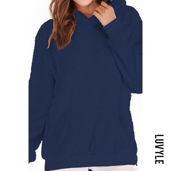 Blue Hooded Drawstring Plain Hoodies Blue Hooded Drawstring Plain Hoodies