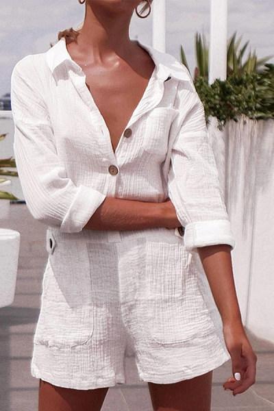 Button Down Collar  Plain  Long Sleeve Playsuits