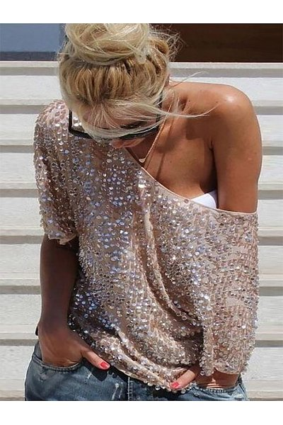 One Shoulder  Backless Cutout See-Through  Glitter Shimmering Powder  Plain Long Sleeve T-Shirts