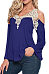 V Neck  Decorative Lace  Bell Sleeve T-Shirts