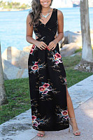 V Neck  Side Slit  Print Maxi Dresses