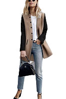 Round Neck  Single Breasted  Patchwork Outerwear