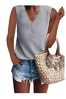 V Neck Sleeveless Plain Basic T-Shirts