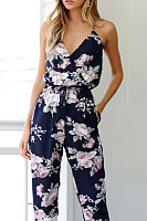 V Neck Printed Sleeveless Jumpsuits