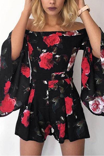 Off Shoulder  Floral Printed  Bell Sleeve  Half Sleeve  Playsuits