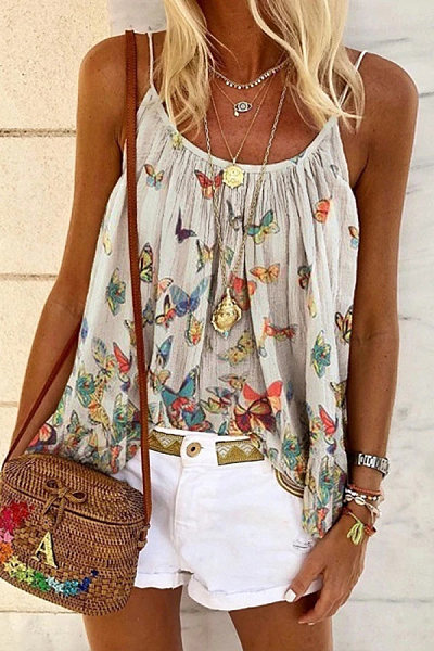 Butterfly print sling top loose vest