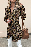 V Neck  Asymmetric Hem  Belt  Leopard Printed Outerwear