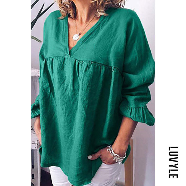 Green Casual Solid Color Large Size Loose Cotton T-Shirt Green Casual Solid Color Large Size Loose Cotton T-Shirt