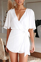 Deep V Neck  Bow  Back Hole Belt  Plain  Bell Sleeve  Half Sleeve Bodycon Dresses